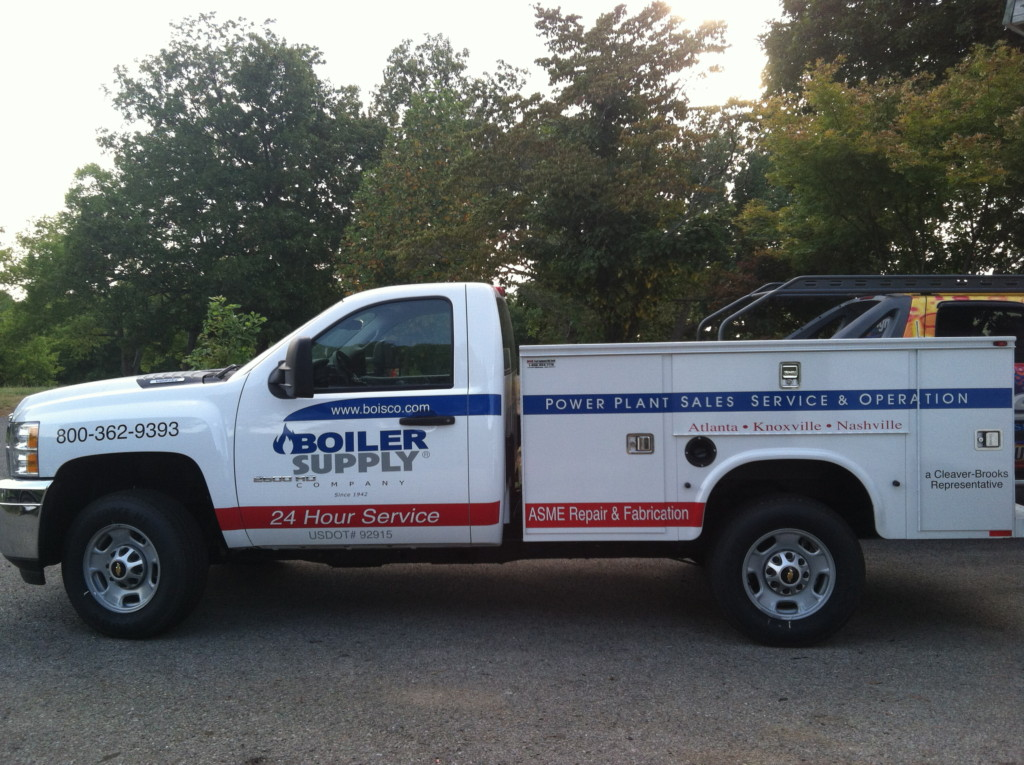 fleet pick up truck lettering logo boiler supply by dsignz