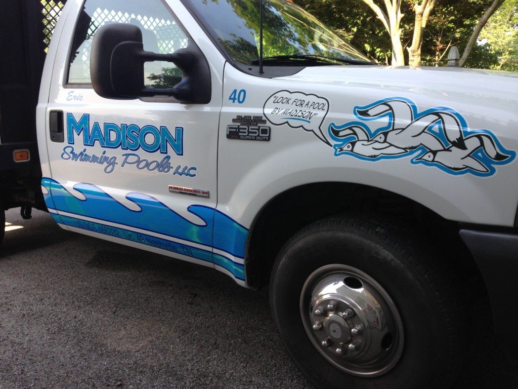 new front cab truck lettering by dsignz for madison pools