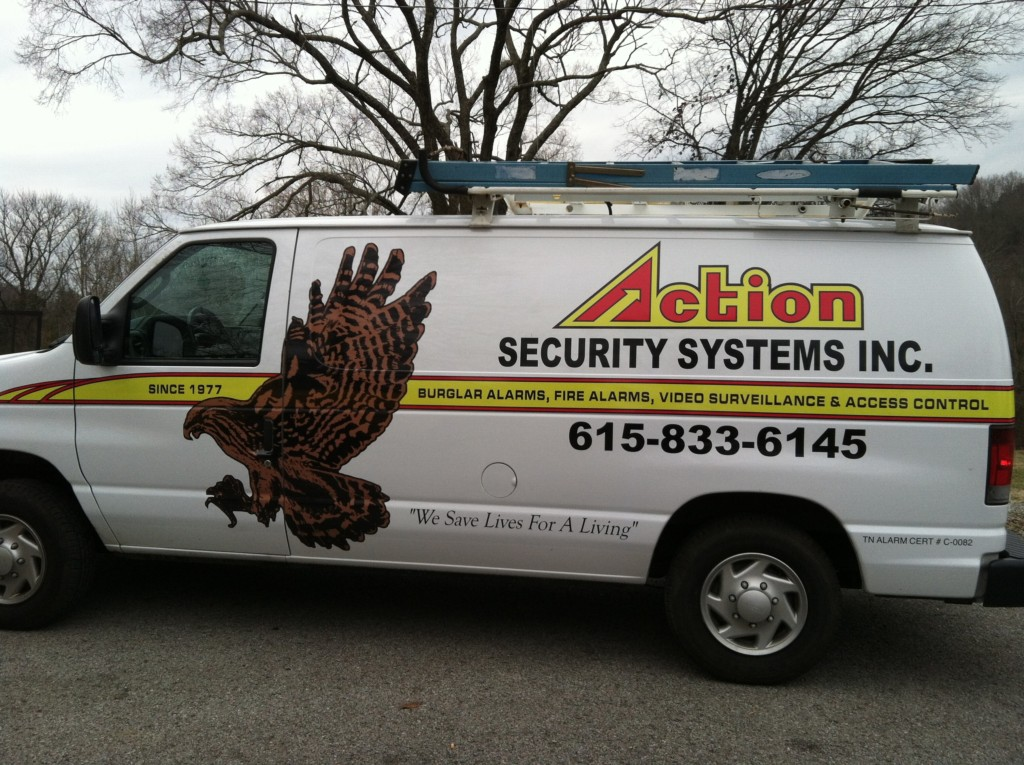 vehicle lettering by dsignz full size van eagle action security